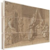 De geboorte  - Schilderij van Andrea del Sarto Vurenhout met planken 120x80 cm - Foto print op Hout (Wanddecoratie)