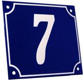 Emaille huisnummer blauw/wit groot nr. 7 18x15cm
