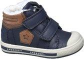 Bobbi-Shoes Kinderen Donkerblauwe gevoerde sneaker klittenband - Maat 25