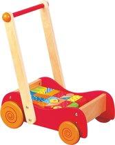 Duw- Loopwagen met gekleurde blokken - 30 stuks