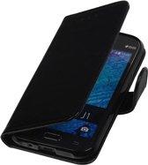 Samsung galaxy j1 2015 J100F Zwart   TPU bookstyle / book case/ wallet case Hoes    WN™