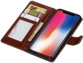 | iPhone X Portemonnee hoesje booktype wallet case Bruin | WN™