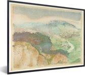 Foto in lijst - Landscape - Schilderij van Edgar Degas fotolijst zwart 40x30 cm - Poster in lijst (Wanddecoratie woonkamer / slaapkamer)