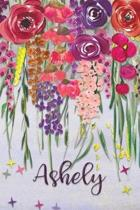 Ashely: Personalized Lined Journal - Colorful Floral Waterfall (Customized Name Gifts)
