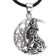 Huilende wolf met maan zilveren hanger