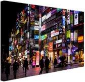 Nachtelijke straat Seoul Canvas 180x120 cm - Foto print op Canvas schilderij (Wanddecoratie woonkamer / slaapkamer) / Steden Canvas Schilderijen XXL / Groot formaat!