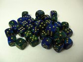 Chessex dobbelstenen set, 36 6-zijdig 12 mm, Gemini blue-green w/gold