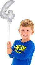 Mini Figuurballon Zilver Cijfer 4