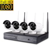 HD NVR Kit Beveiligingscamera Plug en Play camerasysteem 1,3 MP - 4 camera's WIT + 500 GB HARDE SCHIJF