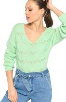 V-hals trui met ajour - Groen