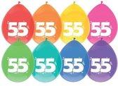 leeftijd ballonnen - 55 - 6 x diverse kleuren