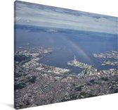 Regenboog over Kawasaki in het Aziatische Japan Canvas 60x40 cm - Foto print op Canvas schilderij (Wanddecoratie woonkamer / slaapkamer)