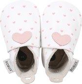 Bobux - Soft Soles - Wit met roze hartjes - Babyslofjes - EU 19