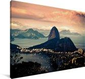 Luchtfoto Suikerbroodberg in Brazilië Canvas 90x60 cm - Foto print op Canvas schilderij (Wanddecoratie woonkamer / slaapkamer)