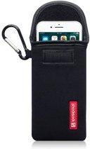 Hoesje voor Apple iPhone 7 en iPhone 8, Shocksock neopreen pouch met karabijnhaak, insteekhoesje, zwart