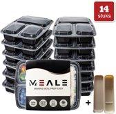 MEALE® - Meal Prep Bakjes 14 Stuks + Bestekhouder - 3 vakken - BPA vrij - Vershoud Lunchbox - Food prep containers - Bento lunch box DMG