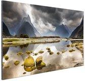 Milford Sound Nieuw-Zeeland Aluminium 180x120 cm - Foto print op Aluminium (metaal wanddecoratie) XXL / Groot formaat! / Zee en Strand
