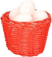 Rood paasmandje met plastic eieren 14cm  mandjes met paaseieren