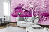Fotobehang Vlies | Paardenbloem | Roze, Paars | 368x254cm (bxh)
