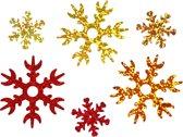 Pailletten d: 25+45 mm goud koper rood sneeuwvlok 30gr