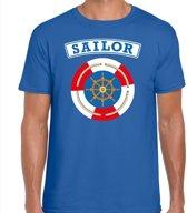 Zeeman/sailor verkleed t-shirt blauw voor heren - maritiem carnaval / feest shirt kleding / kostuum XL