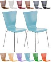 Clp Bezoekersstoel AARON  keukenstoel, conferentiestoel - met houten ergonomische zitting - set van 2 - lichtblauw