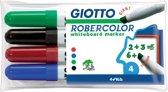 10x Giotto Robercolor whiteboardmarker maxi, schuine punt, etui met 4 stuks in geassorteerde kleuren