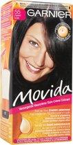 Garnier Movida Haarverf - 55 Zwart - Kleurcrème Toon-op-Toon - Zonder Ammoniak - Met Voedende Abrikozenmelk