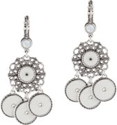 Dolce Luna bijoux Earrings white Pretty pastel verzilverd met Swarovski kristal white