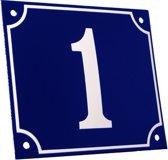 Emaille huisnummer blauw/wit groot nr. 1 18x15cm