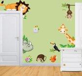 Muursticker Dierentuin - Leuke muursticker voor kinderkamer - Giraffe Neushoorn Aap Tijger TH Commerce® nr 5327