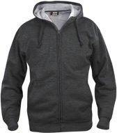 Clique Basic hoody full zip Antraciet Melange maat L