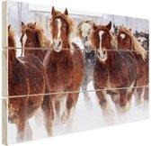Hardlopende paarden in de sneeuw Hout 160x120 cm - Foto print op Hout (Wanddecoratie) XXL / Groot formaat!