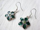 2 Love it Flower G - Oorbellen - Hangers - Metaal - Zirkonia - Groen - Zilverkleurig