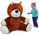 Grote teddebeer / knuffelbeer 110cm - Zachte pluche - Donkere Gemberkleurkleur