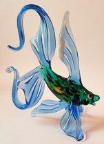 Beeld Vis van glas Design B Blauwe vinnen handgemaakt