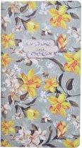 Notitieboekje met bloemen – Antiek groen/Oranjegeel