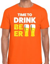 Time to Drink Beer tekst t-shirt oranje heren - heren shirt Time to Drink Beer - oranje kleding M