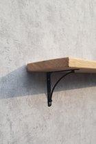 eiken wandplank/boekenplank met zwarte plankdragers