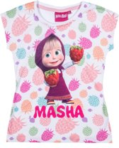 Masha-and-The-Bear-T-shirt-met-korte-mouw-wit - Maat 116