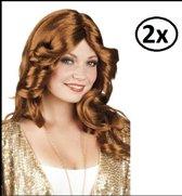 2x Pruik disco doll bruin