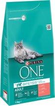 Purina ONE Adult - Zalm/Volkoren Granen - Kattenvoer - 3 x 1,5 kg