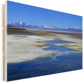 Wateren in het Nationaal park Nevado Tres Cruces in Chili Vurenhout met planken 90x60 cm - Foto print op Hout (Wanddecoratie)