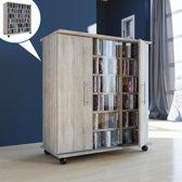 CD DVD kast meubel Luxor verrijdbaar met deuren sonoma eiken kleur