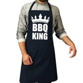 BBQ King barbeque schort / keukenschort navy blauw voor heren - bbq schorten