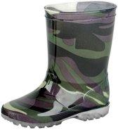 Groene kleuter/kinder regenlaarzen leger - Rubberen leger print laarzen/regenlaarsjes voor kinderen 25