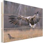Een Europese zeearend spreidt zijn vleugels Vurenhout met planken 120x80 cm - Foto print op Hout (Wanddecoratie)