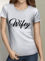 Hubby en Wifey | Wifey Tshirt | Wit | Small
