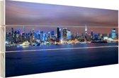 Skyline van New York City bij nacht Hout 160x120 cm - Foto print op Hout (Wanddecoratie) XXL / Groot formaat!