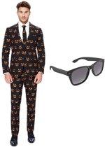 Pompoen print heren kostuum / pak - maat 52 (XL) met gratis zonnebril